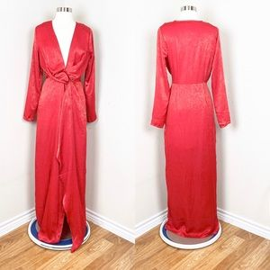 Missguided Red Satin Plunge Maxi Dress  6